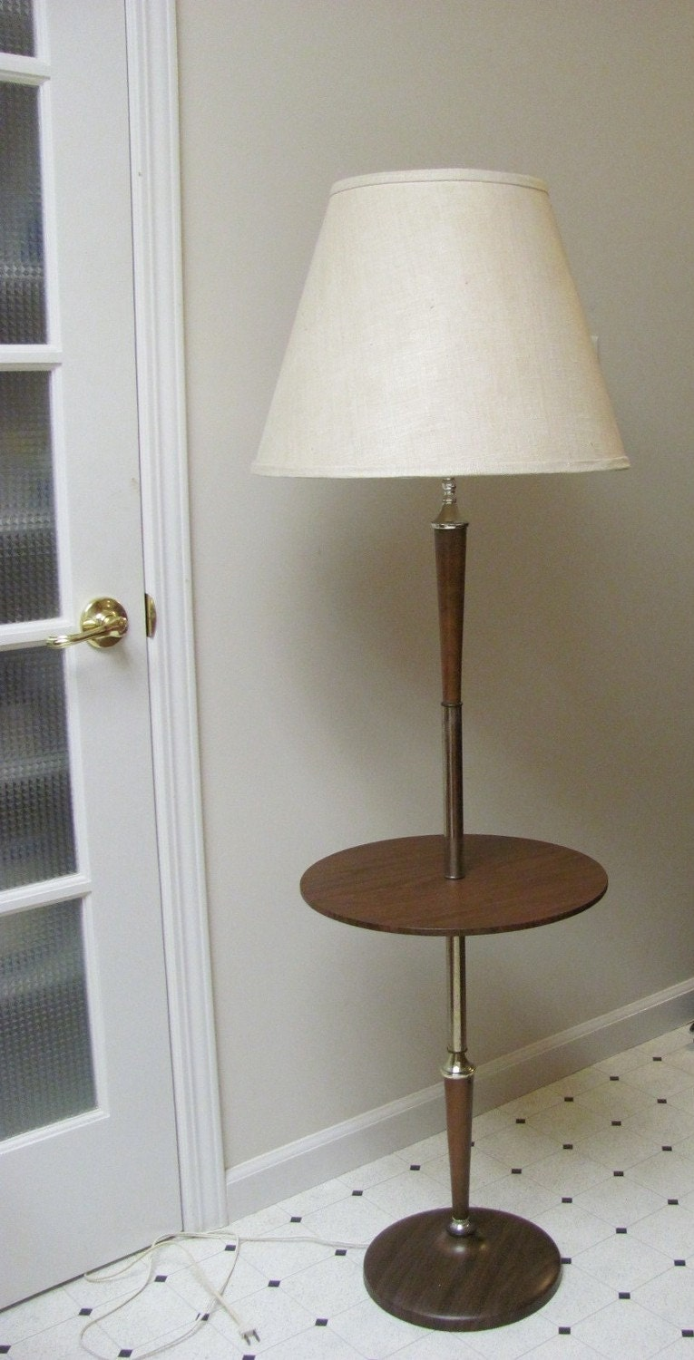 Vintage mid century modern floor lamp with table for Floor lamp with table