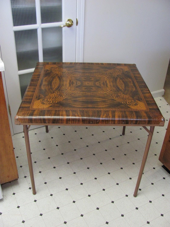 vintage samsonite 1940s folding card table. Black Bedroom Furniture Sets. Home Design Ideas