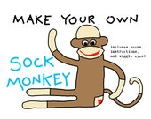 Make Your Own Sock Monkey Kit - w/ Sewing Kit - Rockford Red Heel