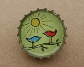bird friends bottlecap pin
