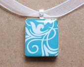 teal swirly scrabble tile pendant necklace
