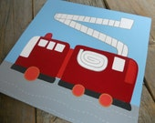 fire engine fun, large 12x12, boys fire truck hand painted stretched canvas wall art