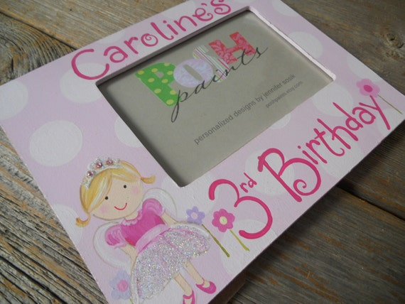 reserved listing for custom bday frame princess 3rd birthday, 4x6 photo frame, hand painted with free personalization