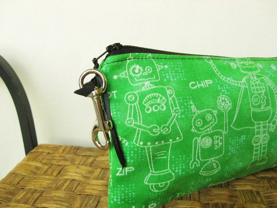 Pencil Case  - Green Robots