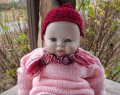 Maroon Cap and Scarf Set for Doll or Teddy