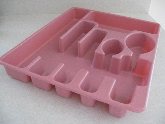Vintage Rubbermaid Pink Silverware Organizer Drawer Tray