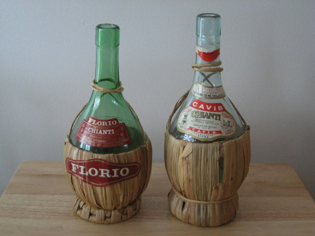 Vintage Chianti Cavib Florio Wine Bottles Candle Holders