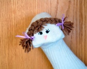 Brown Haired Girl Sock Puppet with Braids