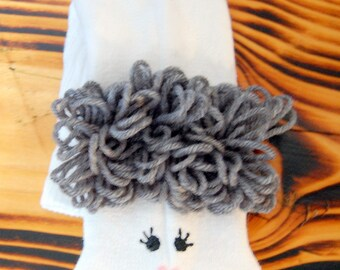 Grey hair Grandmother sock puppet