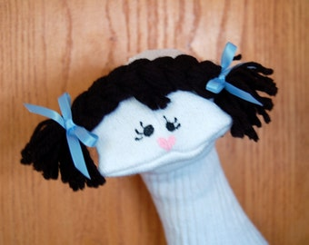 Girl Sock Puppet with moveable mouth black braids