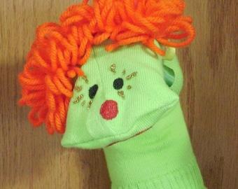 Clown Apple Green Sock Puppet with Orange Hair