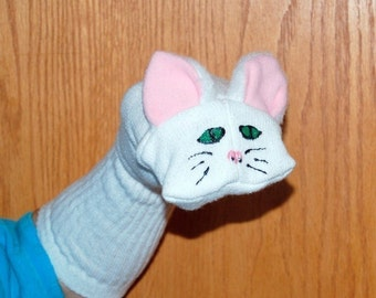 White Cat Sock Puppet with moveable mouth