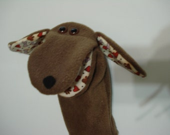 Brown Dog with print ears hearts paws and bones hand puppet