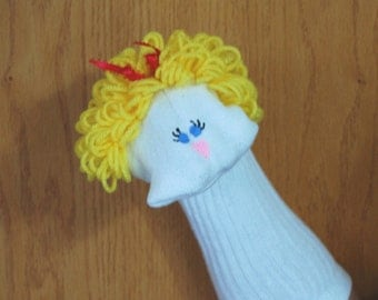 Curly blond yarn hair blue eyes Girl Sock Puppet from Puppets by Margie