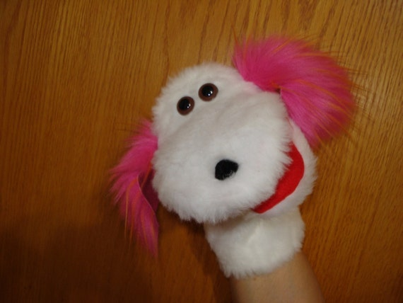 White Dog with Pink Ears Faux Fur