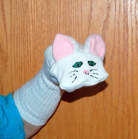 White Cat Sock Puppet from Puppets by Margie