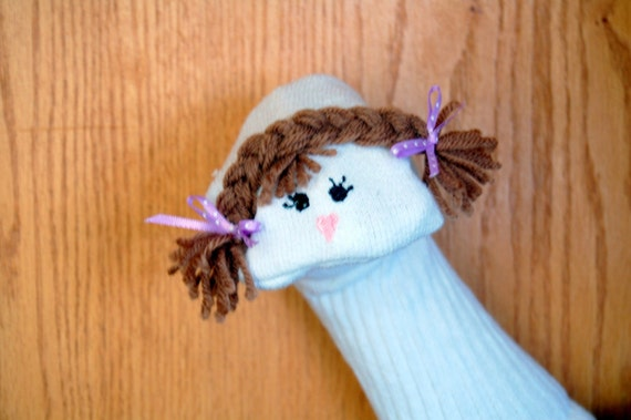 special order for Dayna Day light  Brown Haired Girl and Boy  Sock Puppets
