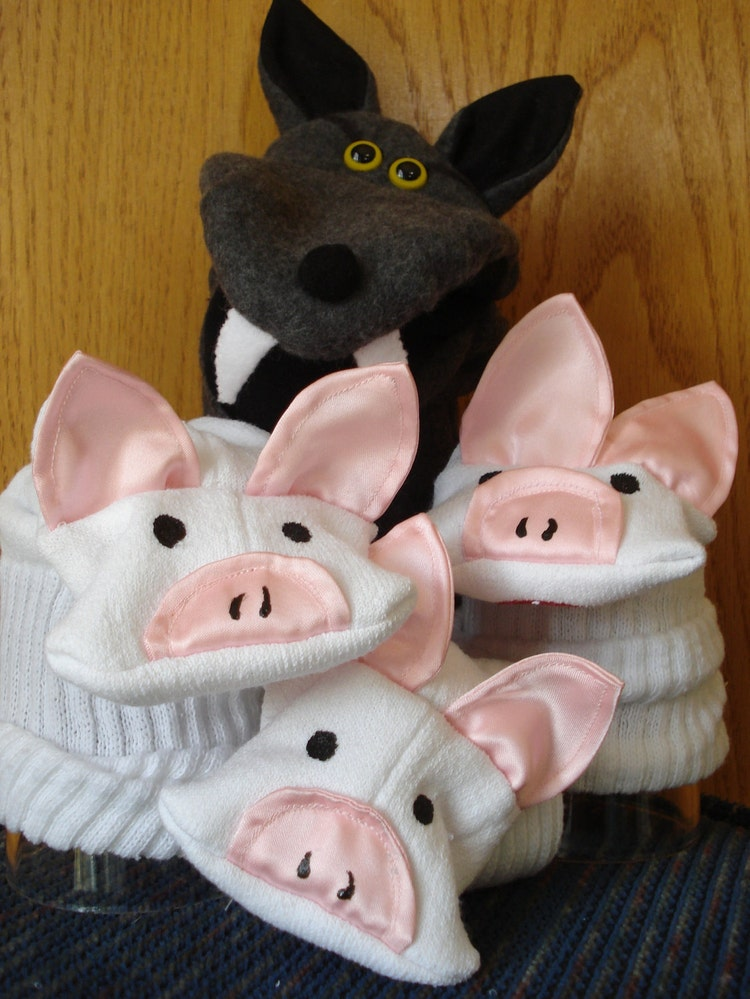 Big Bad Wolf hand puppet and Three Little Pigs by