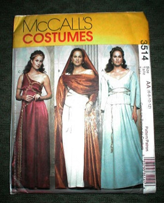 Mccall S 3514 Greek Roman Gown Toga Costume Sewing Pattern: OOP Greek Roman Goddess Pattern McCalls 3514 Sz 10 To 12