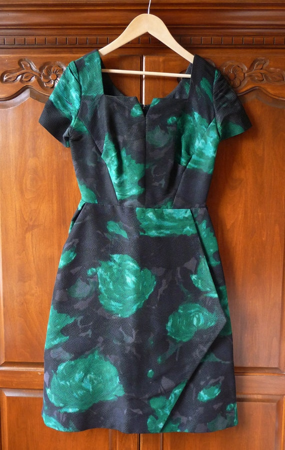 On Hold for Ready to Wear-  Please do not buy -a lovely green gray and black floral madmen era dress