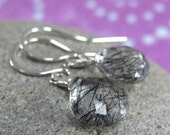 tourmalated quartz crystal earrings