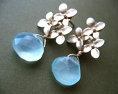 Blossom. Gold Plated flower studs and Aqua Chalcedony Gemstone Earrings