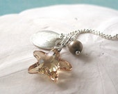 Golden Shadow Starfish. Sterling Silver Necklace and Freshwater pearl (Choose your color)