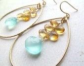 "Beach Wedding Earrings Aqua Chalcedony Citrine Gemstone Gold Hoops ""BEACH DAY"" Bridal Jewelry Bridesmaids Maid of Honor Gift"