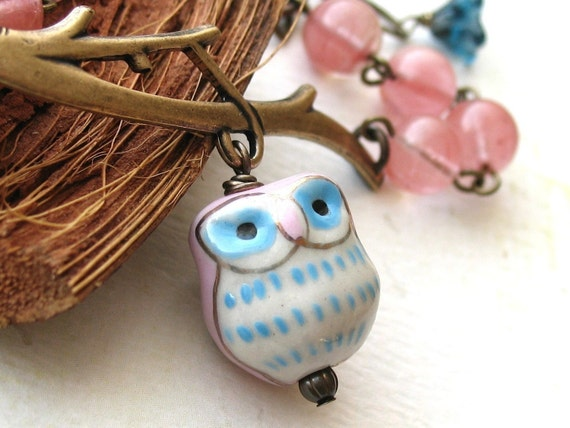 Pink Owl.  Cherry Quartz Gemstone Bracelet