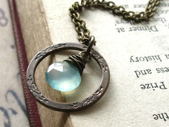 Breeze. Peruvian Blue Chalcedony Gemstone Necklace