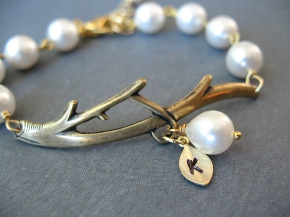 Personalized Bridesmaids Maid of Honor Birthday Anniversary Monogram Custom Initial Gold Leaf Branch Pearl Bracelet (available in Silver)