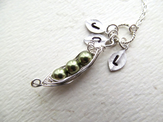 Peas in a Pod Necklace Sterling Peas Pod necklace Personalized Leaf Initials Mother Kids MOM Children Grandma Birthday Baby Shower Gift