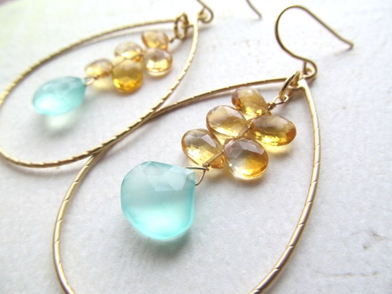 "Beach Wedding Earrings Aqua Chalcedony Citrine Gemstone Gold Hoops ""BEACH DAY"" Bridal Jewelry Bridesmaids Maid of Honor Gift"