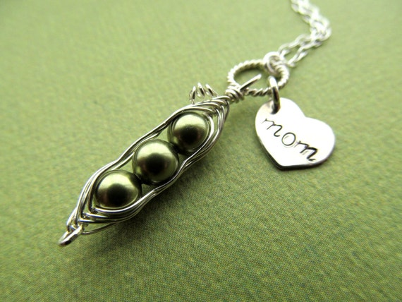 Mothers Necklace, Mothers Day Gifts - Peas in a Pod Necklace - HEART MOM Custom Sterling Children Best Friends Baby Shower - Gifts for Mom