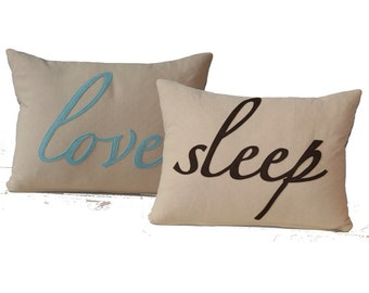 Love and Sleep Romance Bedroom Pillow - Double sided