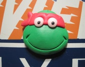 Red Turtle Handmade Fimo Fridge Magnet with glow in the dark eyes