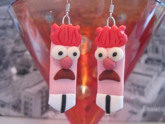 Handmade Fimo Earrings with glow in the dark eyes