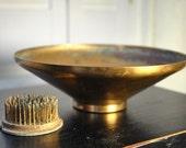 Vintage copper flower bowl 1950s with frog flower holder