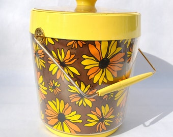 Vintage ice bucket 1970s bar ware yellow daisies brown excellent by Thermo Serve