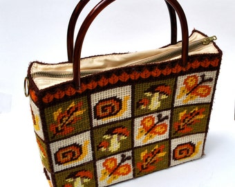 Vintage 1970 fall purse, needlepoint butterflies leaves mushrooms, tortoise shell handles, fall colors, hand made