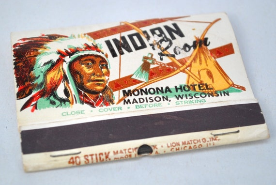 Vintage matches Indian Room Madison WI souvenir matchbook Monona Hotel great graphics Native American