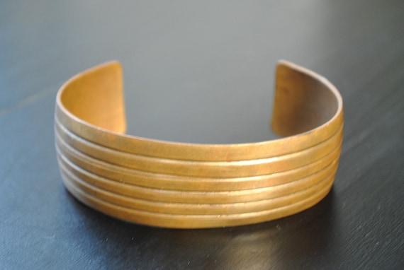 Vintage copper bracelet cuff gorgeous patina ribbed cuff