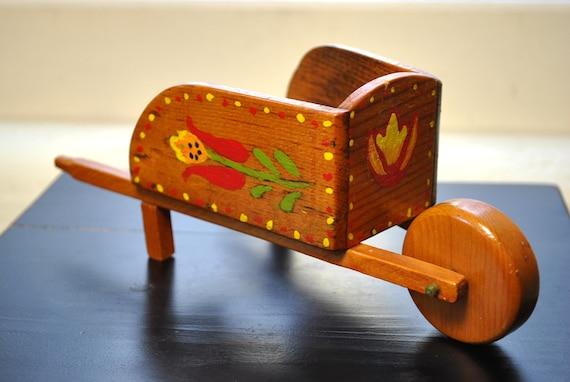 Vintage wheelbarrow planter or votive holder wood hand made folk art hand painted