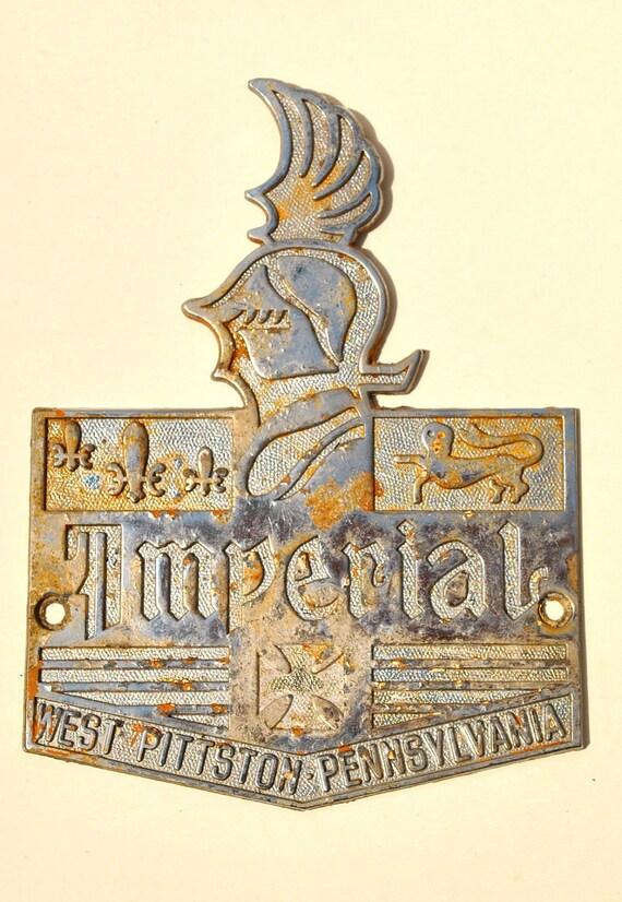 Vintage metal emblem steampunk supply Imperial 1930s Pennsylvania helmet fleur de lis