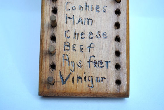 Vintage grocery list wood with pegs 1950s folk art hand made