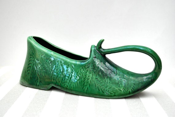 Vintage green Aladdin slipper planter 1960s pointed toe shoe