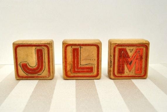 Vintage wood blocks J L M childrens toys squirrel elephant blimp