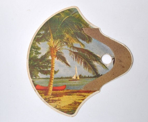 Vintage cardboard fan 1940s with sailboat palm tree from New Ulm