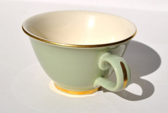 Vintage sage green coffee cups 1950s light green set of 6