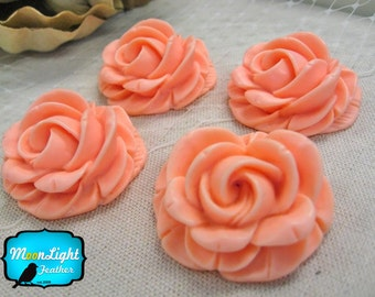 Flower Cabochons, 4 Pieces - PINK BLUSH 29mm Flower Resin Peony Flat Back Cabochon  : 1013